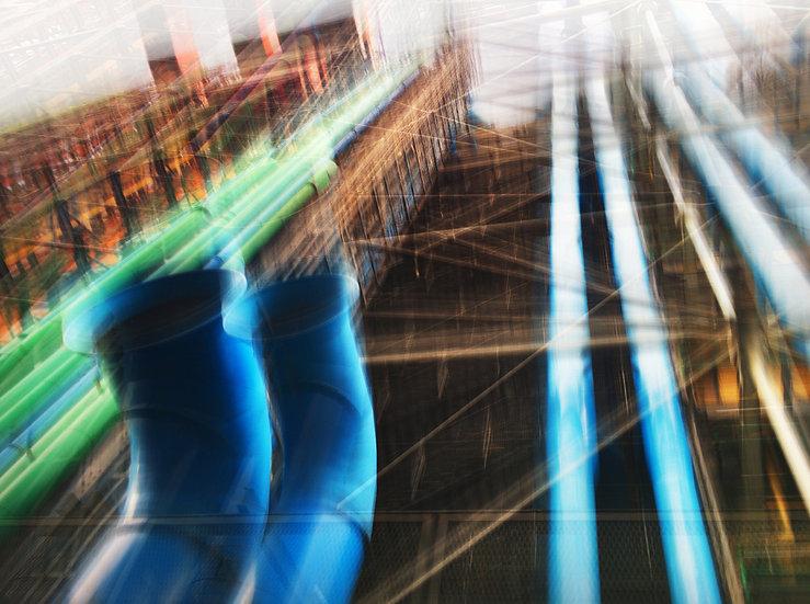 Paris Beaubourg bleu rouge - Format 40x50cm