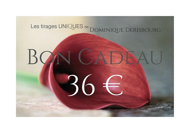 Bon cadeaux valeur 36 €