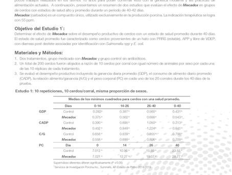 Evaluación de Mecadox® sobre el desempeño productivo de cerdos destetados