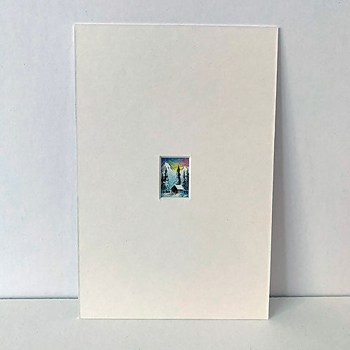 HAPPY LITTLE CABIN - tiny original art painting