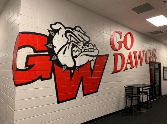 Large GW athletic logo mural