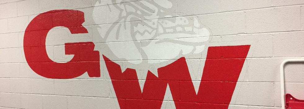 Blocking-in medium logo mural