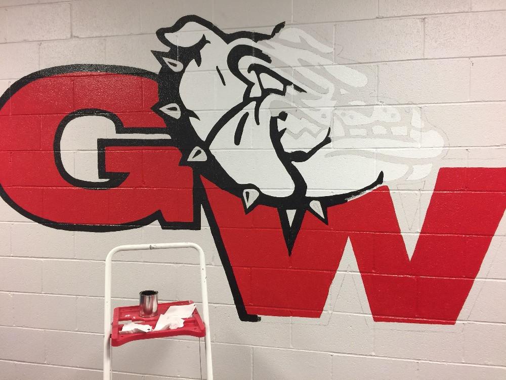 Medium logo mural in progress