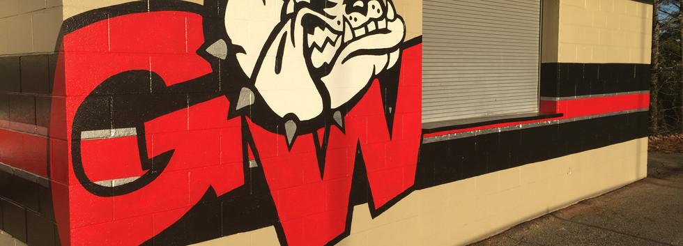 GW athletic logo mural