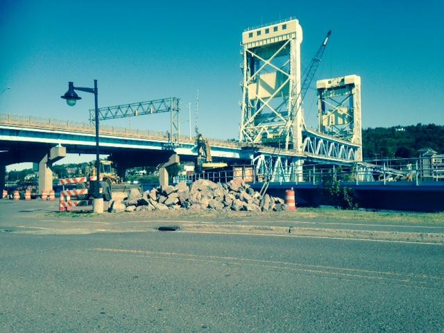 Portage Lake Lift Bridge - Rip Rap