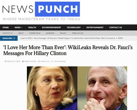 'I Love Her More Than Ever': WikiLeaks Reveals Dr. Fauci's Messages For Hillary Clinton