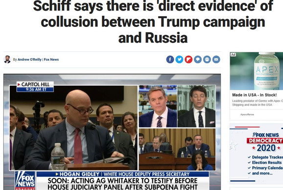 Schiff says there is direct evidence of collusion between Trump campaign and Russia