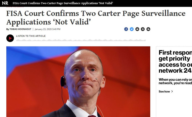 FISA Court Confirms Two Carter Page Surveillance Applications Not Valid