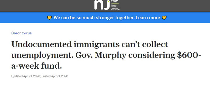 Undocumented immigrants can't collect unemployment. Gov. Murphy considering $600-a-week fund