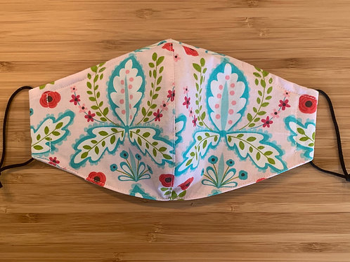 Pink and Turquoise Floral Face Mask