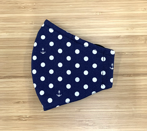 Blue and White Polka Dot Anchor Face Mask