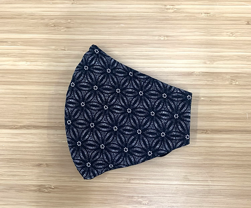 Black Geometric Floral Face Mask