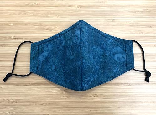 Batik Teal Tie Dye Face Mask