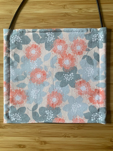 Coral and Grey Floral Face Mask