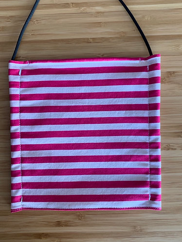 Pink and White Stripe Face Mask