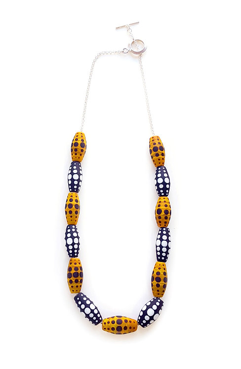 WS Yellow and Black Tapered Dot Necklace