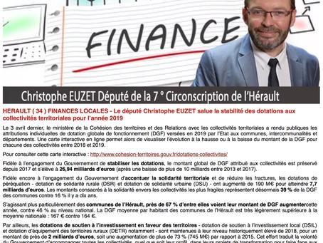 [Finances locales] Zoom sur les dotations allouées par l'Etat aux communes de l'Hérault en 2019
