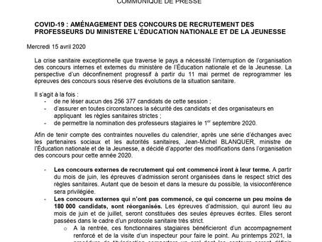 AMÉNAGEMENT DES CONCOURS DE RECRUTEMENT DES PROFESSEURS DU MINISTERE L'ÉDUCATION NATIONALE