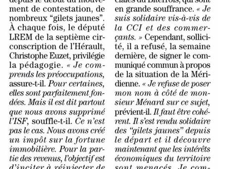 """[A la Une] Mouvement des """"Gilets Jaunes"""" : Christophe Euzet privilégie la pédagogie"""