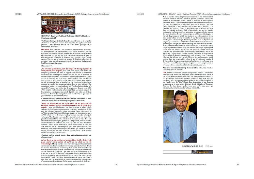 - Article paru dans L'indécapant, le 18 octobre 2018 -