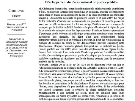 Question écrite : Développement du réseau national de pistes cyclables