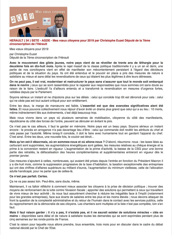 - Article paru dans le média régional Occitanie Tribune, le 2 janvier 2019 -