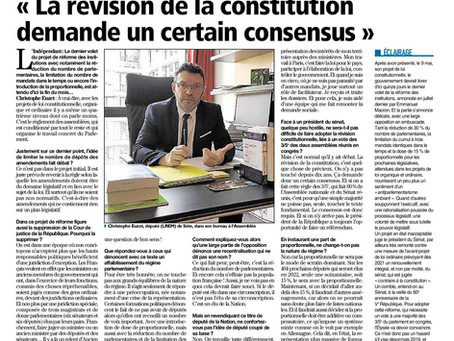 Réforme des institutions : Interview au journal l'Indépendant