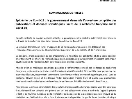 Ouverture des publications et données scientifiques de la recherche française sur le COVID-19