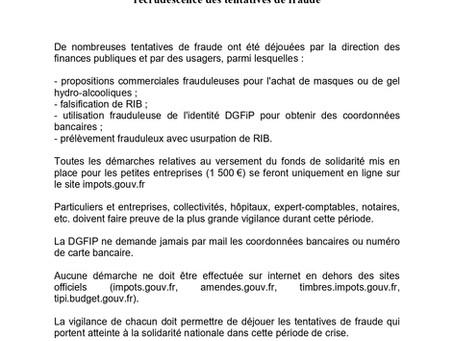 Communiqué de presse : Covid 19 Vigilance renforcée contre les tentatives de fraude