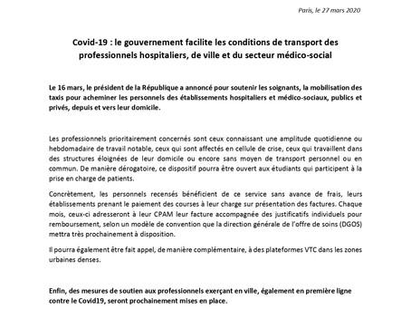 Facilitation des conditions de transport des professionnels hospitaliers, de ville et médico-social