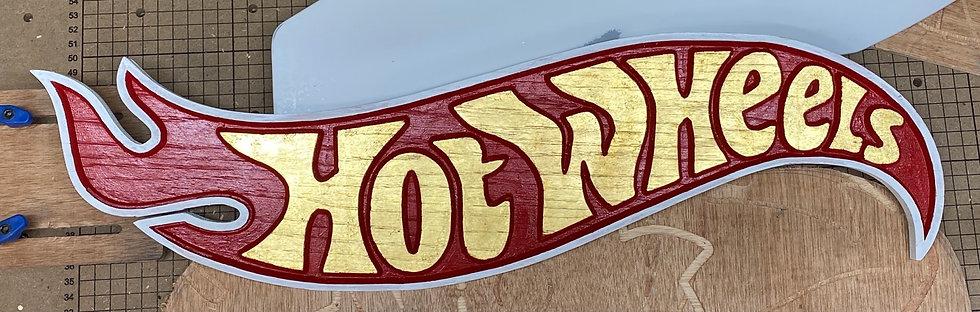 Custom Carved Hot Wheels 23k Gold Leaf lettering wood sign