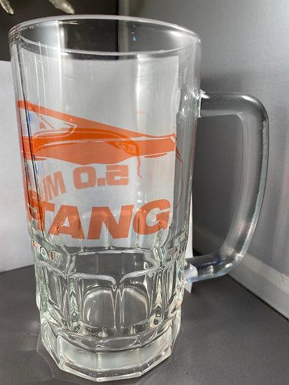 5.0 Mustang Orange Glass 18oz Beer Mug