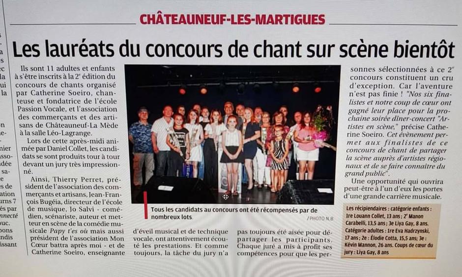 3ème place catégorie adulte à Châteauneuf-les-Martigues et article dans la Provence.