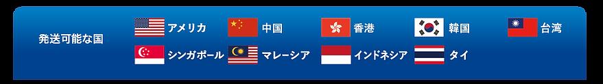 発送可能な国、アメリカ、中国、香港、韓国、台湾、シンガポール、マレーシア、インドネシア、タイ