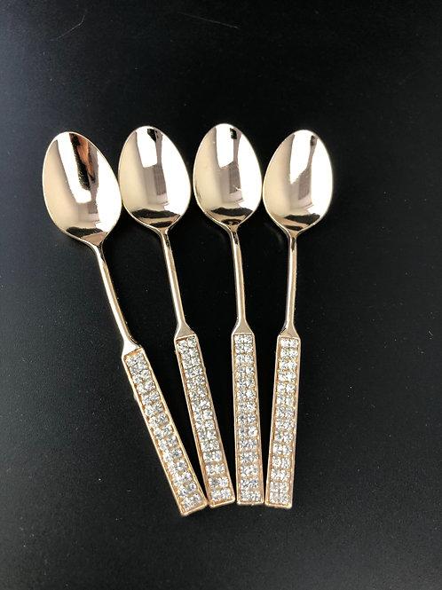 Teelöffel - Gold Kristall - 6er Set