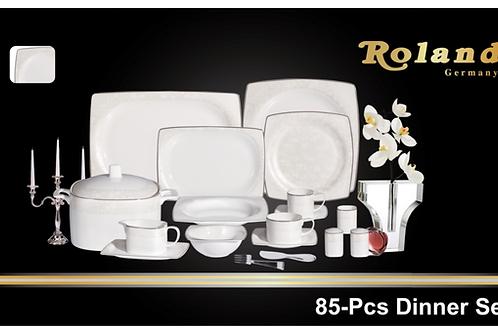 Roland Bone China Tafelservice 85 tlg 12 Personen - Silber