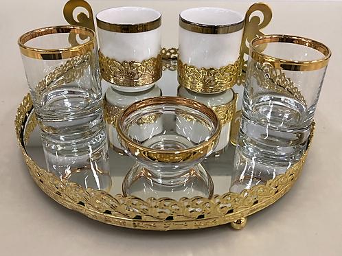 Kaffee Set - Gold - 6tlg - Rund