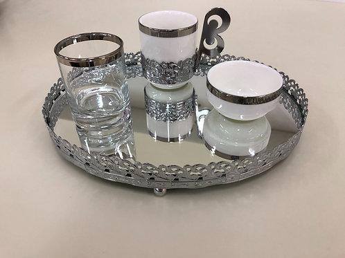Kaffee Set - Silber - 4 tlg - Oval