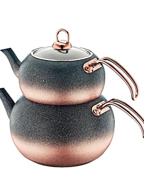 Teekanne - Granit - Rosa schwarz