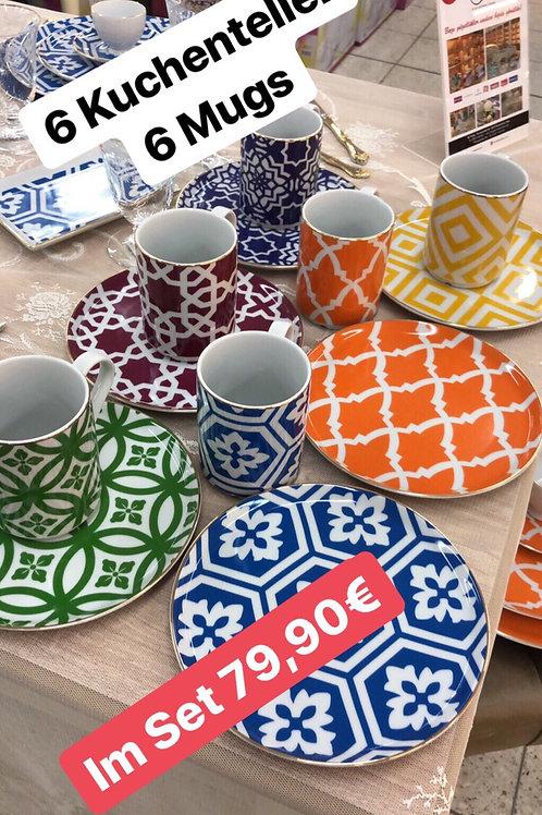 Porland Marocco - 6 Kuchenteller + 6 Mugs
