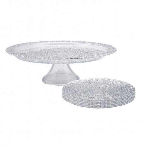 Karaca silver Lace Dessertteller-Set inkl. Tortenplatte