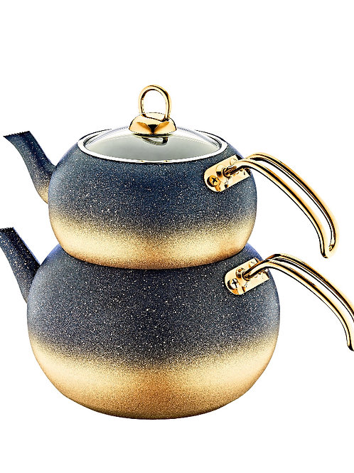 Teekanne - Granit - Gold schwarz