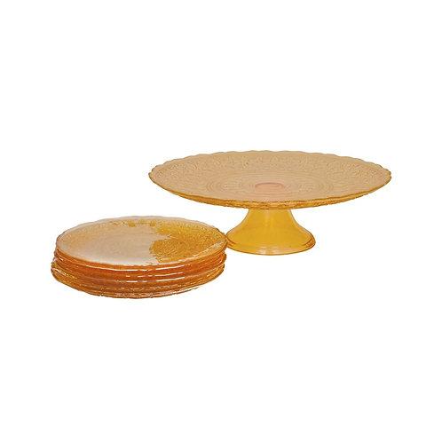 Karaca Vintage Lace Dessertteller-Set inkl. Tortenplatte