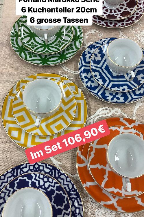 Porland Marocco - 6 Kuchteller + 6 Große Tassen + Unterteller - 18tlg