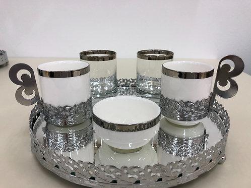 Kaffee Set - Silber - 6 tlg -Rund