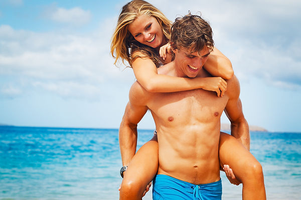 Attractive Young Couple on Tropical Beac
