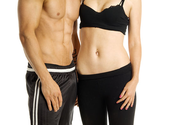 Fitness image of a man and woman's torso