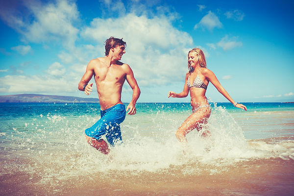 Happy Attractive Young Couple on Tropica