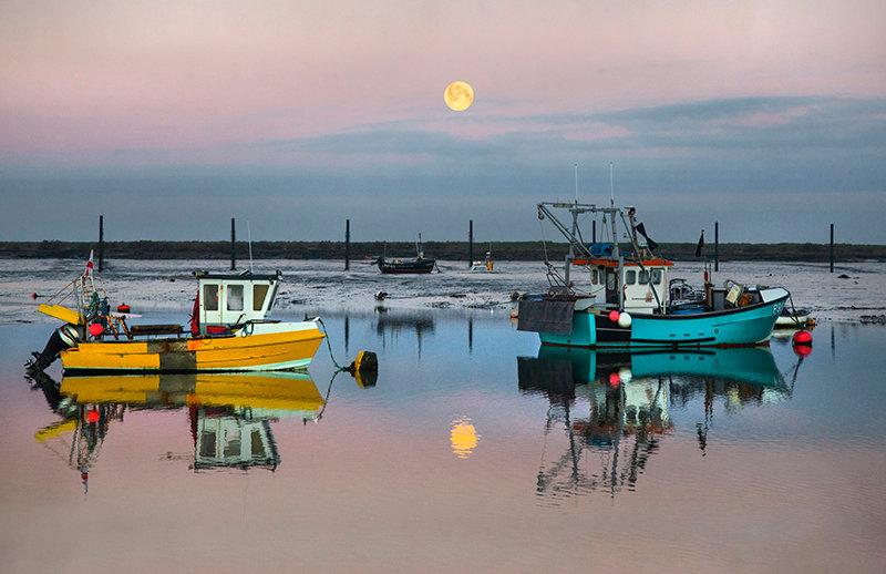 Snow Moon & Fishing Boats