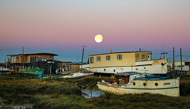 Moonset over the Houseboats